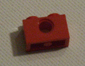 Lego 2 peg red technic beam, 2 studs, 1 axle hole, Lego part number 3700