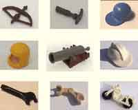 Lego minifigure accessories, hats, hair / wigs, swords, guns, shields, horse, barrels, flags