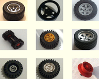 Replacement Lego wheels, hubs and tyres.