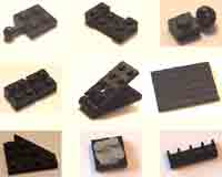 black, plates, Lego, flats, square, rectangular, small, pieces.