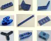 blue, Lego, technic, beams, vintage, pegs, crank, arm, lever