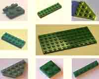 green, plates, flats, Lego, pegs, square, rectangle.