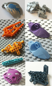 Lego, bionicle, individual parts, replacement spares, components, silver, light blue, dark blue, orange, yellow, purple