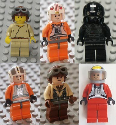 pilots, minifigures, Star Wars, Lego.