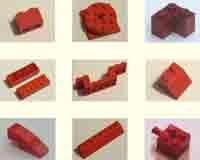 red, bricks, parts, pieces.