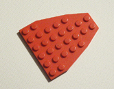 Red Lego plate 6 x 9 chamfered