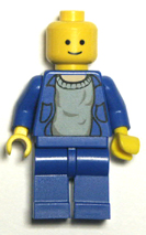lego minifigure, blue torso black legs and hips.