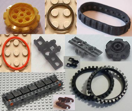 tracks, bans, track gears, track cogs, pulley belts.
